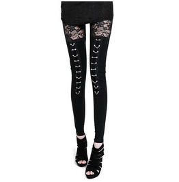 Regular/Plus Sizes Women's Lace Knee Black Gothic Leggings