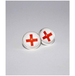 Red Cross Glass Stud Earrings