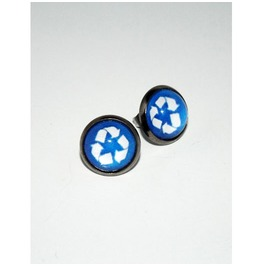 Recycling Sign Glass Stud Earrings