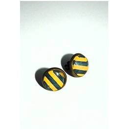 Yellow Black Stripes Glass Stud Earrings
