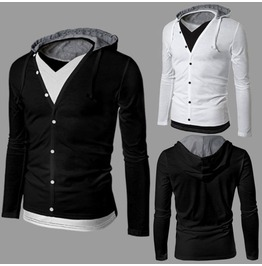 Black/White Mens Hooded Long Sleeve Cardigans