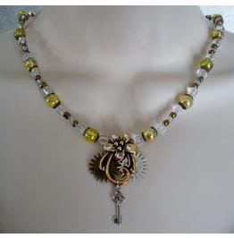 Steampunk Flower Necklace, Steampunk Goth Victorian Edwardian