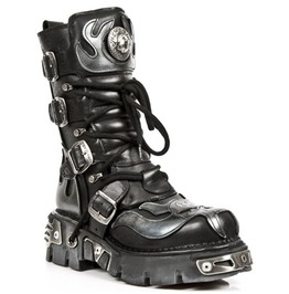 M.107 S2 New Rock Leather Skull Gothic Silver Flame Boot $26 To Ship