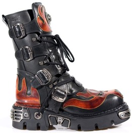 M.107 S1 Rock High Quality Leather Red Skull Gothic Boot $26 To Ship