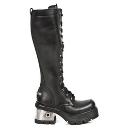 M.236 New Rock Leather Metallic Knee Length Goth Boot Punk Boots