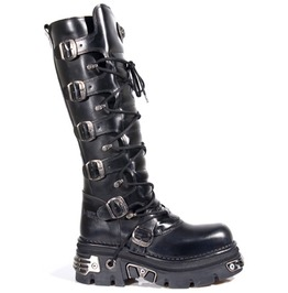 272 New Rock Leather Metallic Punk Knee Length Kiss Boot Goth Boots