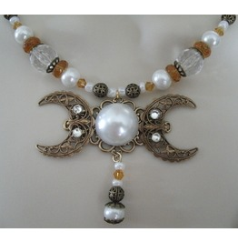 Gold Pearl Triple Moon Goddess Necklace, Goth Wiccan Witch Witchcraft