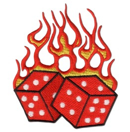 "Hot ""Fire Flame"" Dice Iron Patch Badge"