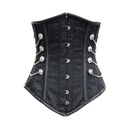 Gothic Noble Black Satin Underbust Corset Chains