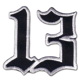 Lucky 13 Friday 13th Number Patch Badge Iron Gothic Punk Emo Rockabilly Halloween