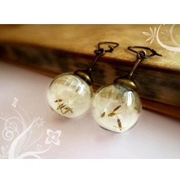 Dandelion Earrings Globe Seeds Make Wish Vintage Glass Orb