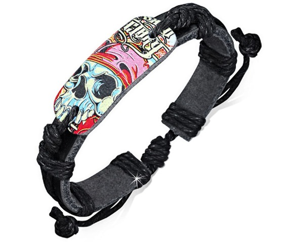 fashion_colorful_zombie_skull_watch_style_adjustable_black_leather_bracelet_bracelets_2.jpg