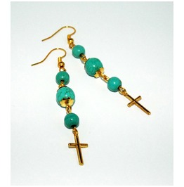 Dangle Earrings Crosses Turquoise Colored Howlite Beads