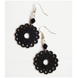 Black Wooden Lace Dangle Earrings