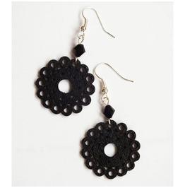 Black Wooden Lace Dangle Earrings