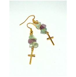 Dangle Earrings Gold Crosses Rainbow Fluorite Beads