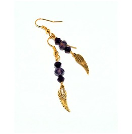 Dangle Earrings Gold Wings Purple Glass Beads
