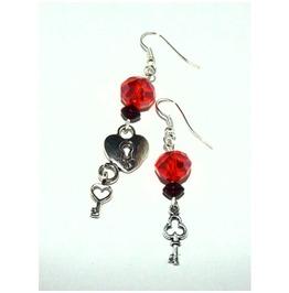 Romantic Dangle Earrings Keys Red Glass Beds