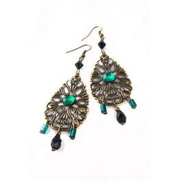 Fancy Lacy Brass Dangle Earrings Black Green Beads