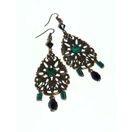 fancy_lacy_brass_dangle_earrings_black_green_beads_earrings_3.jpg