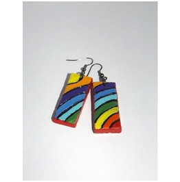 Handpainted Dangle Earrings Air Drying Clay Rainbow