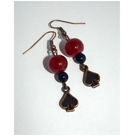 Dangle Earrings Glass Beads Cooper Color Spades Pendants