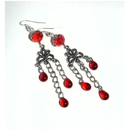 Chandelier Earrings Red Beads Looks Blood Drops