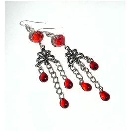 Chandelier Earrings Red Beads Looks Blood Drops