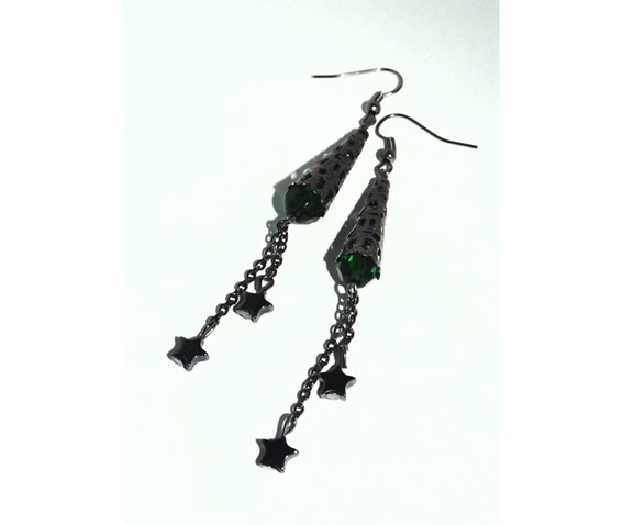 blackened_metal_dangle_earrings_emerald_color_beads_hematite_stars_earrings_4.jpg