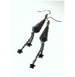Blackened Metal Dangle Earrings Emerald Color Beads Hematite Stars