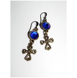 Dangle Earrings Brass Color Crosses Blue Cabochons