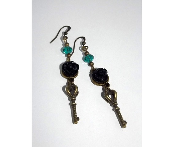dangle_earrings_keys_black_rose_cabochons_green_glass_beads_earrings_3.jpg
