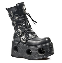 373 S2 New Rock Black Leather Unisex Goth Platform Spring Boots $26 To Ship