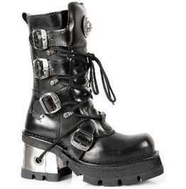 373 S33 New Rock High Quality Leather Metallic Heel Punk Boot Goth Boots