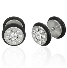 Stainless Steel Faux Ear Plug Clear Cz O Rings Pair Ees063