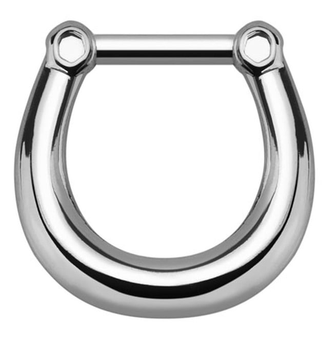 Plain Style Silver Tone 316 L Surgical Steel Septum Rebelsmarket