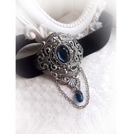 Indigo Blue Gothic Velvet Choker Victorian Handmade Jewelry