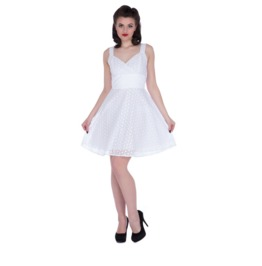 Voodoo Vixen Women's Billie Blush White Flare Dress