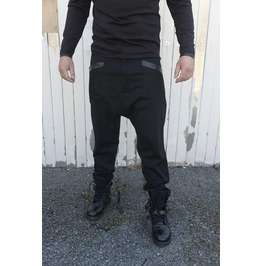 Men Loose Pants/ Draped Pants / Extravagant Trousers / Leather Accent Pants