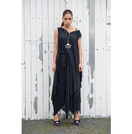 Long Black Dress/ Draped Belted Dress/ Oversize Tunic/ Loose Belted Dress