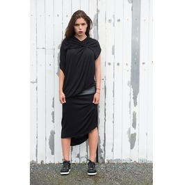 Black Draped Dress/ Leather Detail Dress/Draped Tunic/Long Leather Dress