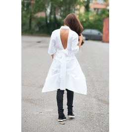 Extravagant White Cotton Shirt/ Asymmetric Shirt/ V Shaped Cutout Back