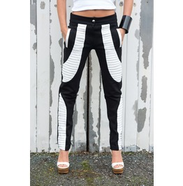 Black White Slim Pants/ Slim Fit Leggings/ Leather Cutouts/ Slim Pants