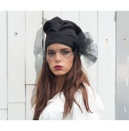 Black Beanie / Black Hat / Draped Hat / Hat Veil