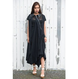 Black Maxi Dress Zipper/ Asymmetric Dress/Draped Oversize Loose Dress
