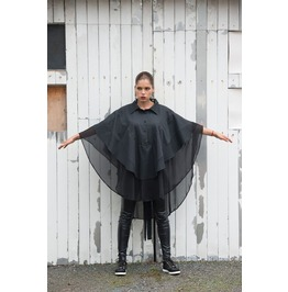 Asymmetric Black Chiffon Shirt/ Black Loose Casual Shirt/ Black Poncho