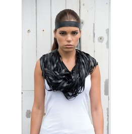 Leather Scarf/Layered Scarf/Leather Snood/ Oversize Scarf