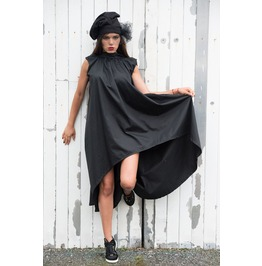 Black Dress/Loose Draped Dress/Open Back Dress/Black Tunic/Asymmetric Dress