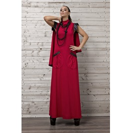 Stylish Red Maxi Dress/Draped Maxi Dress/ Red Long Dress/Cotton Maxi Dress