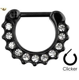 Gem Paved Color Ip Surgical Steel Black Toned Septum Clicker Ring 16 Ga